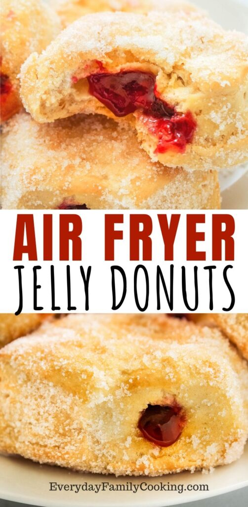 Title and Shown: Air Fryer Jelly Donuts (with jelly oozing out)