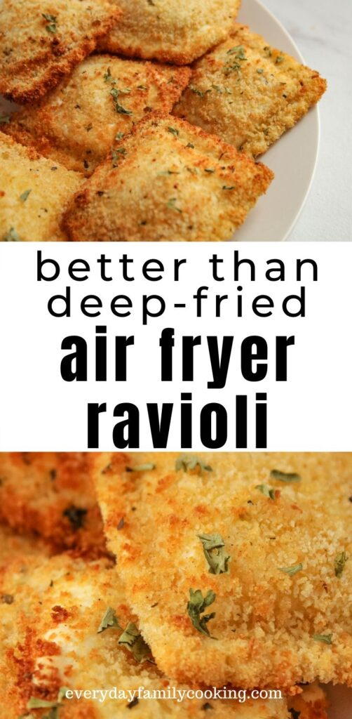 Title and Shown: better than deep-fried air fryer ravioli (on a white plate)