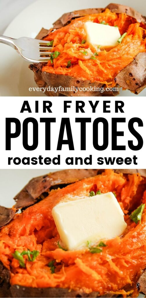 Title and Shown: Air Fryer Potatoes -- roasted and sweet (on a white plate)