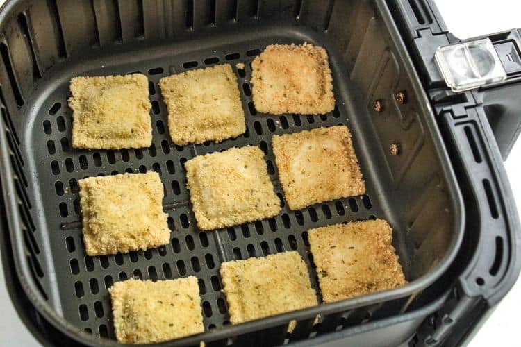 Breaded uncooked ravioli in the air fryer