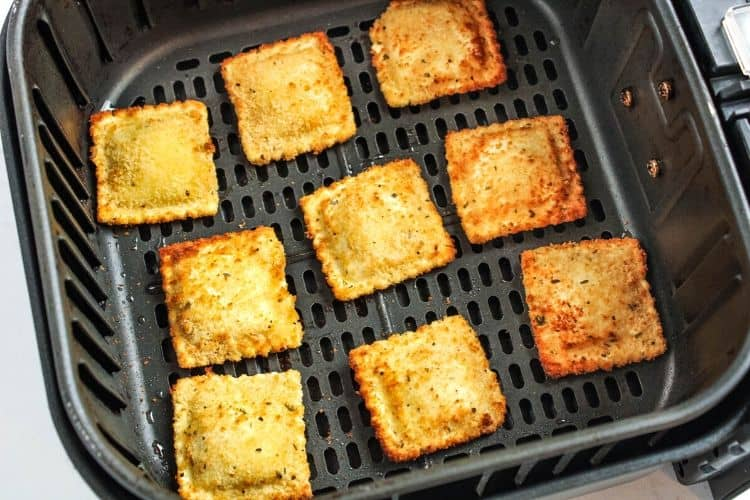 Cooked toasted ravioli in an air fryer