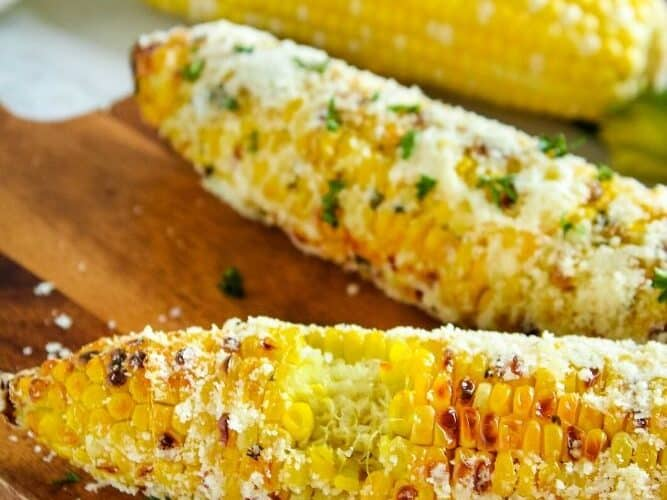 Air Fryer Corn on the Cob with bite taken out