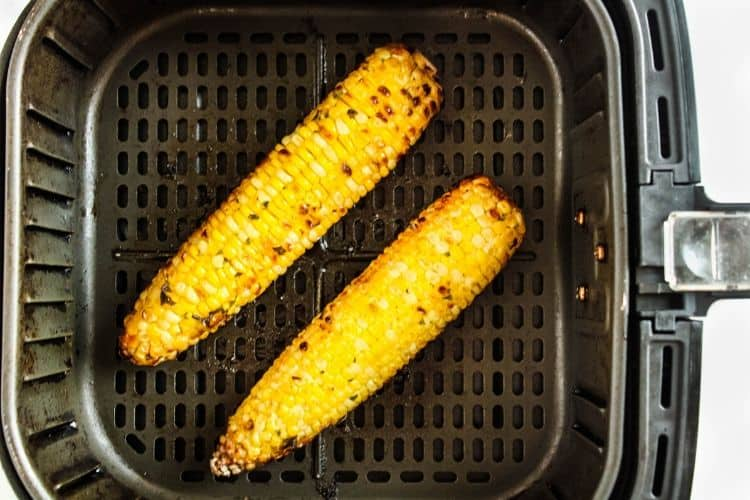 Cooked corn on the cob in the air fryer