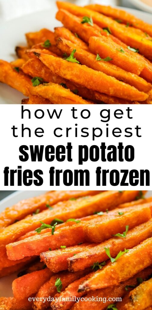 Title and Shown: How to get the crispiest sweet potato fries from frozen (on a white plate)
