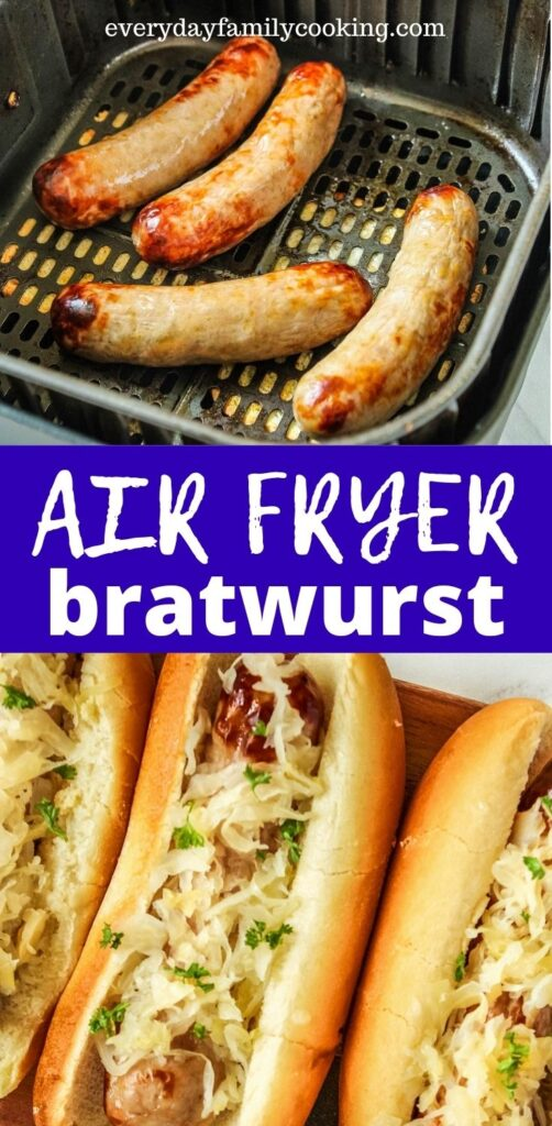 Title and Shown: Air Fryer Bratwurst (in air fryer; inside buns with sauerkraut)
