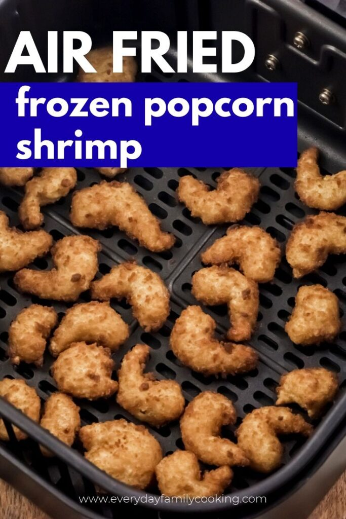 Title and Shown: Air Fried frozen popcorn shrimp (inside air fryer)