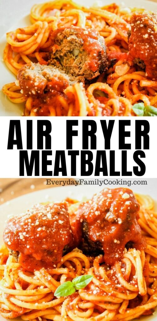 Title and Shown: Air Fryer Meatballs (place on top of spaghetti with sauce on top)