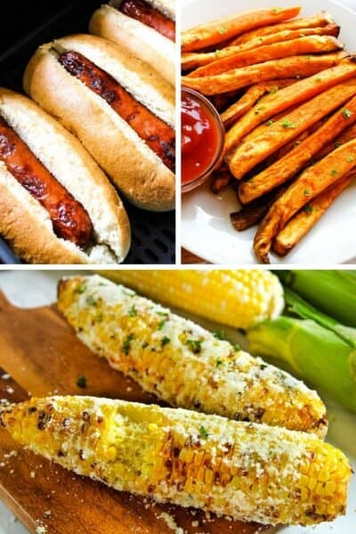 Collage of pictures: air fryer hot dogs in buns on top left, air fryer sweet potato fries on top right, and air fryer corn on the cob with bite taken out on bottom