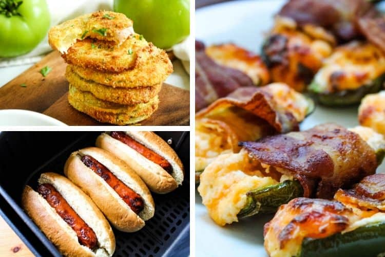Collage of photos: air fried green tomatoes on top left, hot dogs in buns in air fryer on bottom left, and air fryer bacon wrapped jalapenos on right