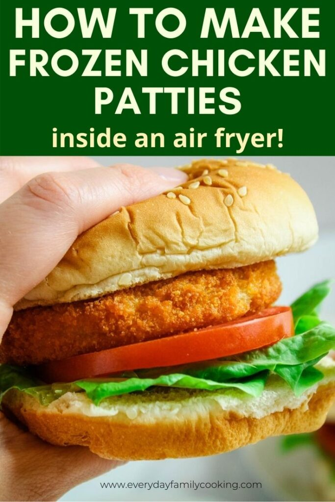 Title and Shown: How to Make Frozen Chicken Patties inside an air fryer (with chicken patty held in hand)