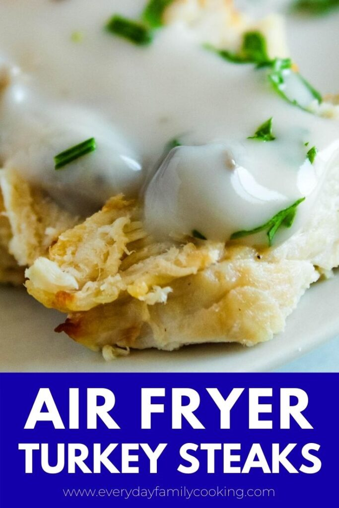Title and Shown: Air Fryer Turkey Steaks (closeup of sliced turkey with mushroom sauce).