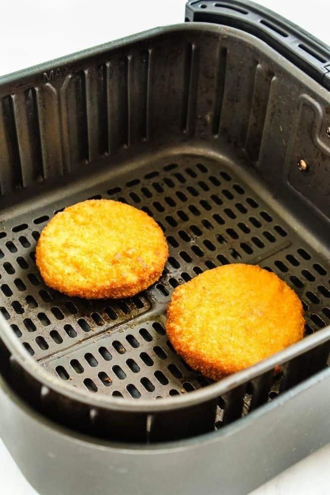 Cooked frozen chicken patties in air fryer