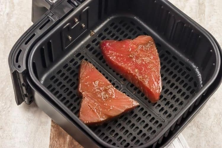 Raw marinated ahi tuna steaks in air fryer