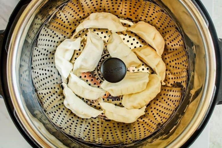 Frozen Pot Stickers inside Instant Pot