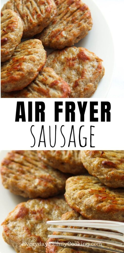 Title and Shown: Air Fryer Sausage (on a white plate and a fork cutting into one patty)