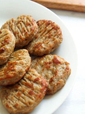 Air Fryer Sausage Patties on a white plate