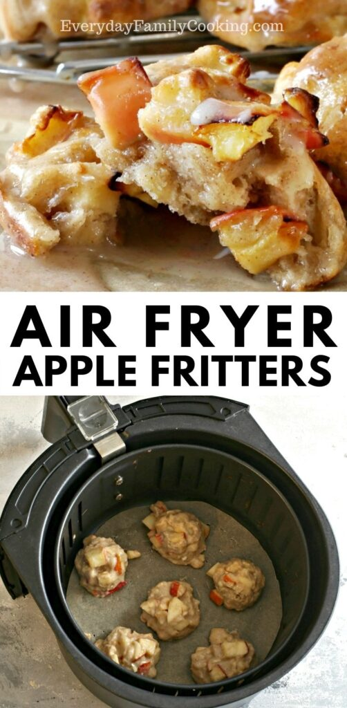 Title and Shown: Air Fryer Apple Fritters (split in half and in air fryer)