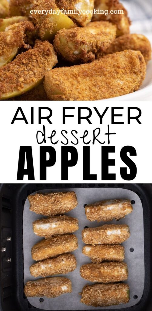 Title and Shown: Air Fryer Dessert Apples (in an air fryer and on a white plate)