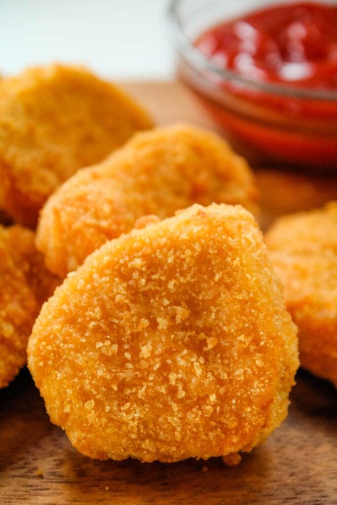 Closeup of breaded chicken nugget