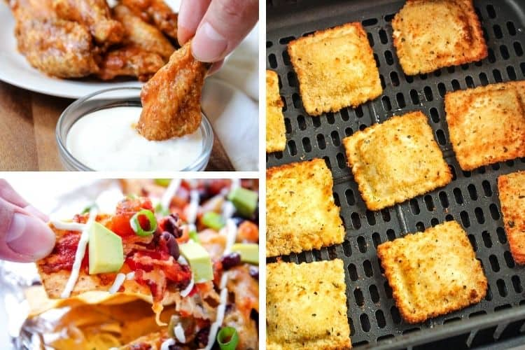 Collage of included recipes (buffalo chicken wings on top left, nachos on bottom left, and air fried ravioli on right)