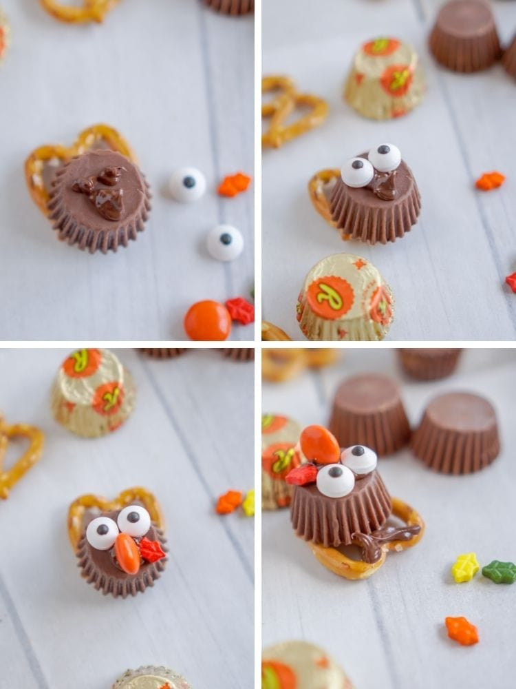 Collage of melted chocolate placed on the Reese's cups along with the candy eyes and Reese's cups