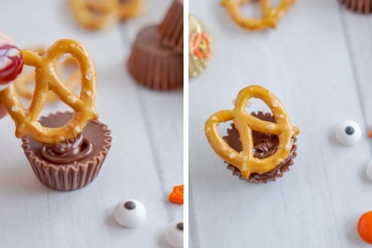 Pretzel being placed onto the mini Reese's cup (side-by-side pictures)