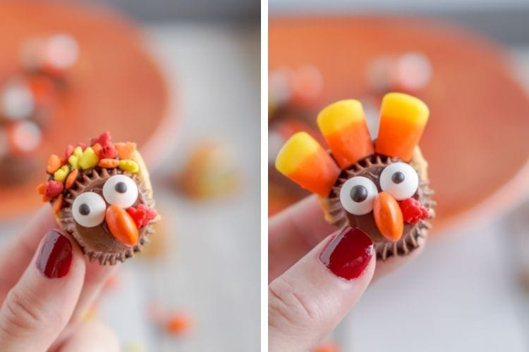 Side-by-side pictures of turkey treats with a different leaf sprinkle and one with candy corn feathers