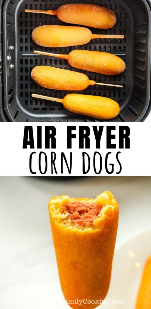 Title and Shown: Air Fryer Corn Dogs (in air fryer and bitten into)
