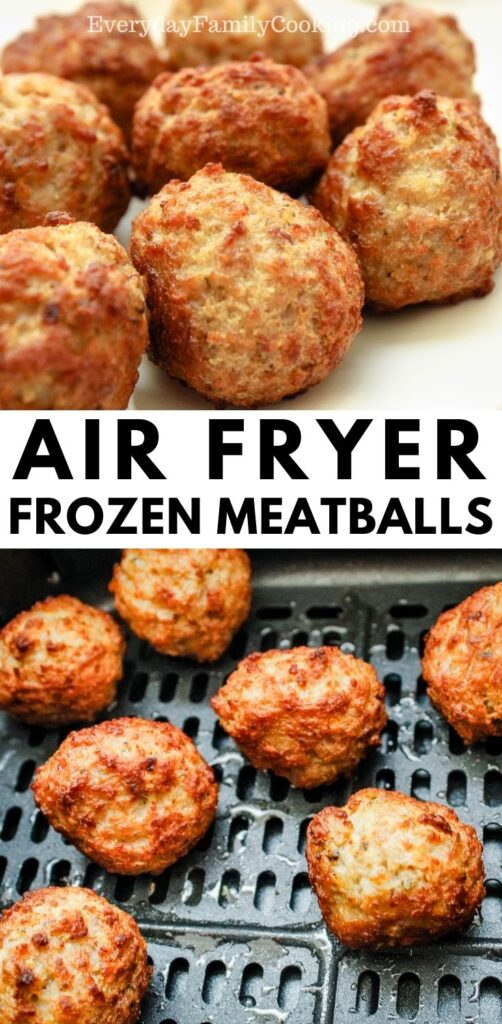 Title and Shown: Air Fryer Frozen Meatballs (on a white plate and in the air fryer)