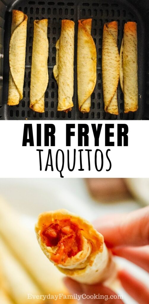 Title and Shown: Air Fryer Taquitos (in the air fryer and one in hand bitten into)
