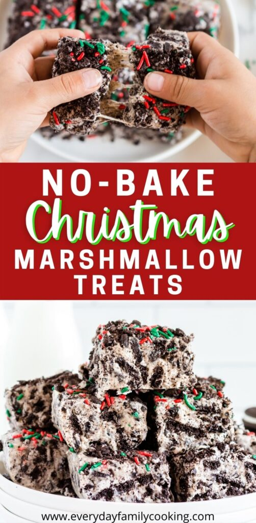 Title and Shown: No-Bake Christmas Marshmallow Treats (being held and on a plate)