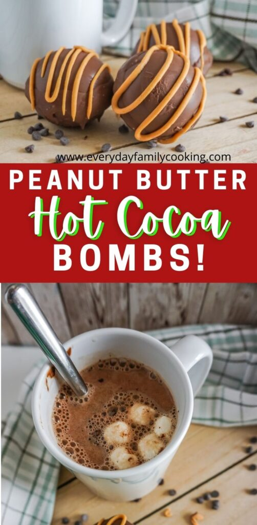 Title and Shown: Peanut Butter Hot Cocoa Bombs (on a table and in a mug to make hot cocoa)