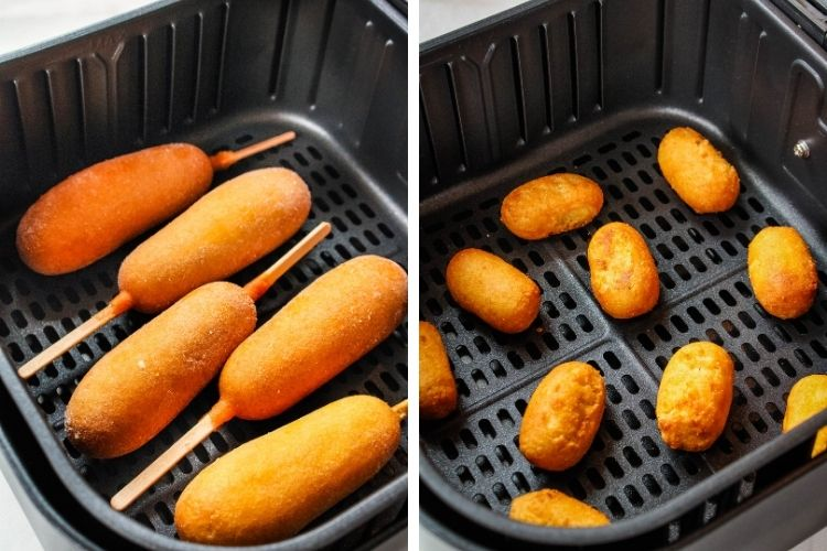 Corn Dogs in air fryer on left and mini corn dogs in air fryer on right