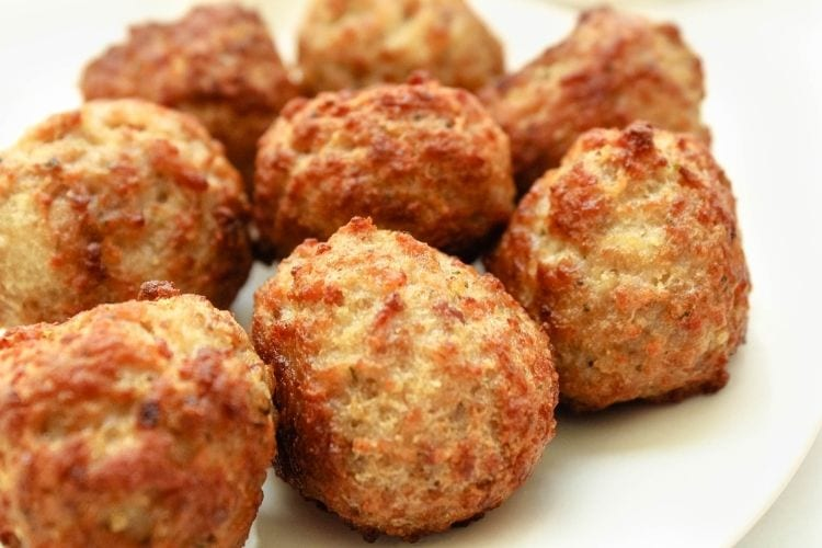 Air Fryer Meatballs on white plate