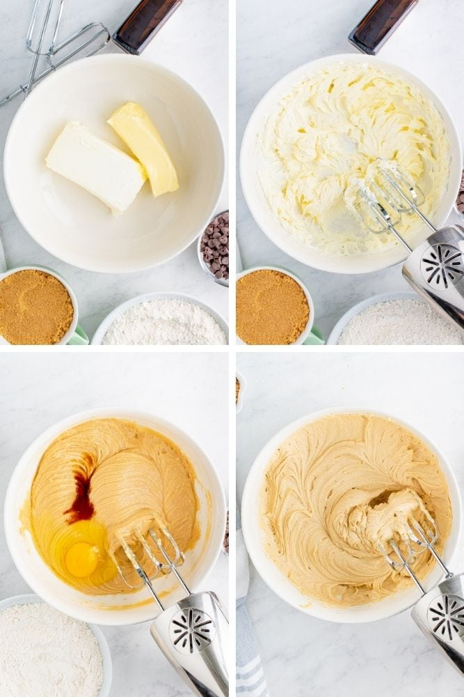 Collage of butter and cream cheese mixed in a bowl with other added ingredients mixed in too