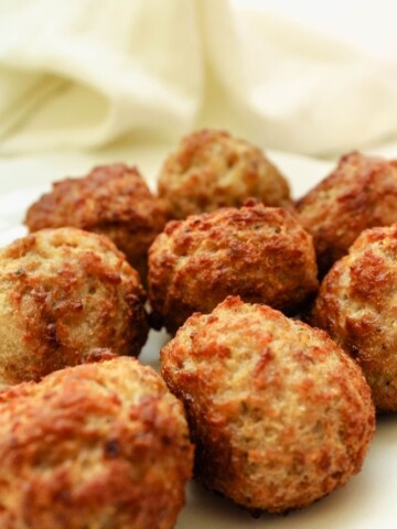 Air Fryer Meatballs on a white plate