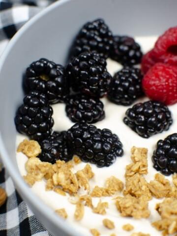 Closeup of almond milk yogurt in a bowl with blackberries, raspberries and granola