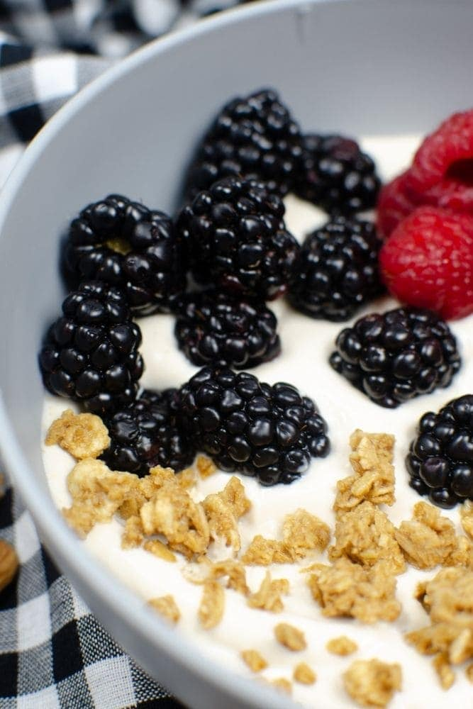 Closeup of almond milk yogurt in a bowl with blackberries, raspberries and granola