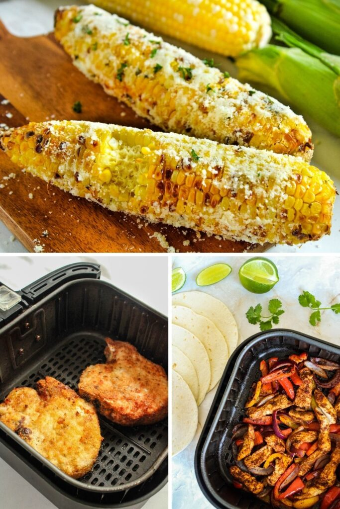 Collage of the best air fryer recipes (corn-on-the-cob, chicken fajitas, and cripsy pork chops)