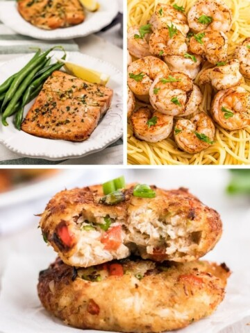 Collage of air fryer salmon, air fryer shrimp, and air fryer crab cakes