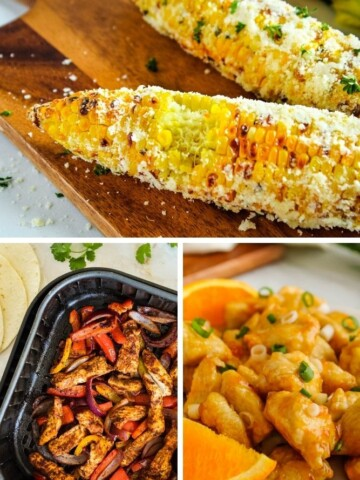 Collage of the best air fryer recipes (corn-on-the-cob, chicken fajitas, and orange chicken)