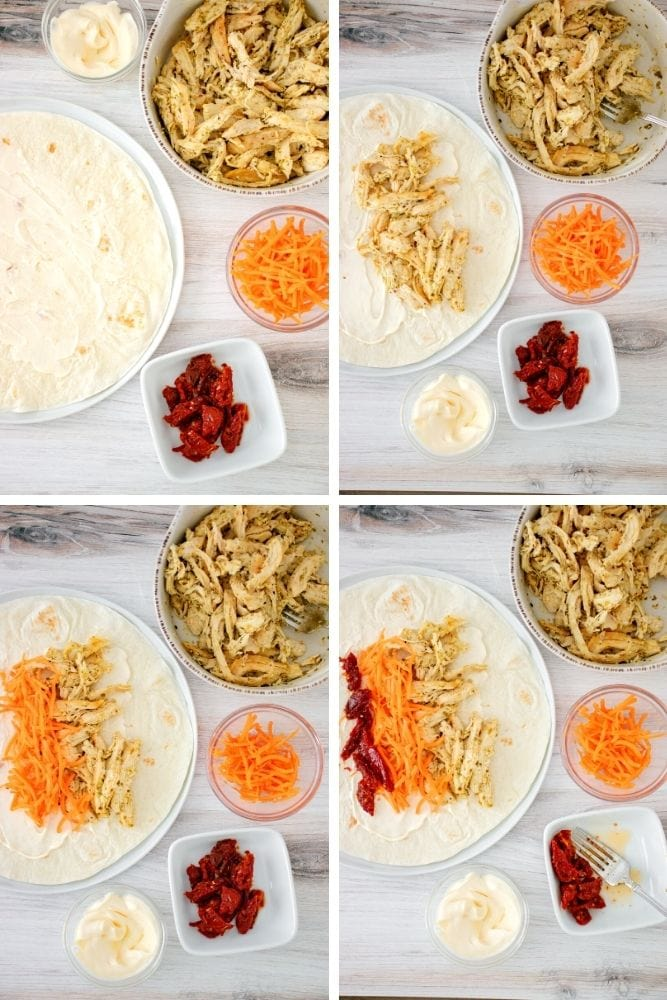 Process shots of mayo, carrots, chicken, and sundried tomatoes put on wrap
