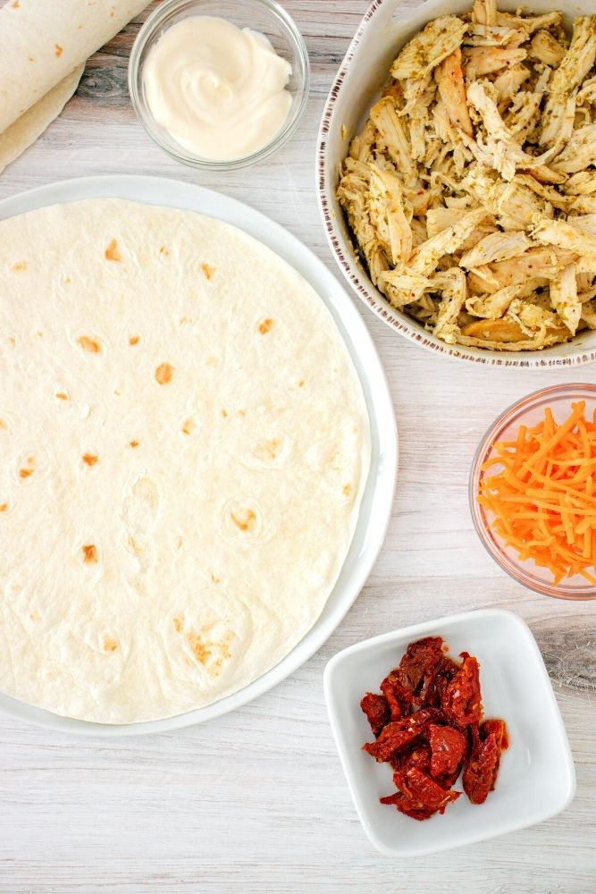 Picture of ingredients needed for the wrap