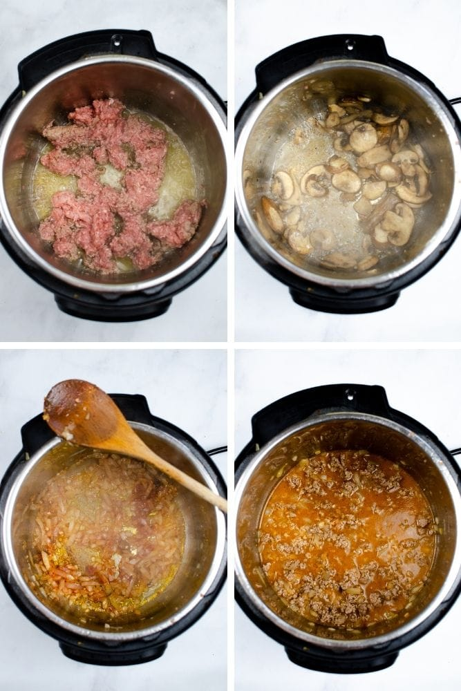 Collage of in-process images of ground beef browning, cooking the mushrooms and onions, and adding the ground beef back in