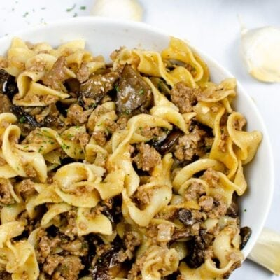 Instant Pot Beef Stroganoff in a white bowl