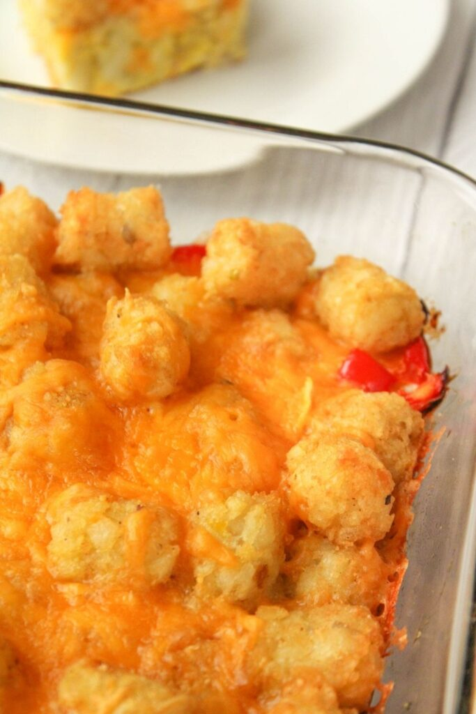 Tater Tot Casserole with No Meat in a 13x9 pan
