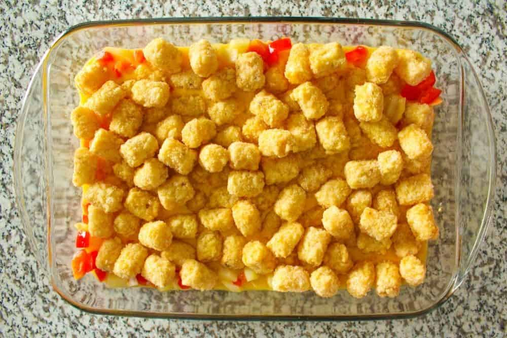 Vegetarian Tater Tot Casserole with frozen tater tots on top