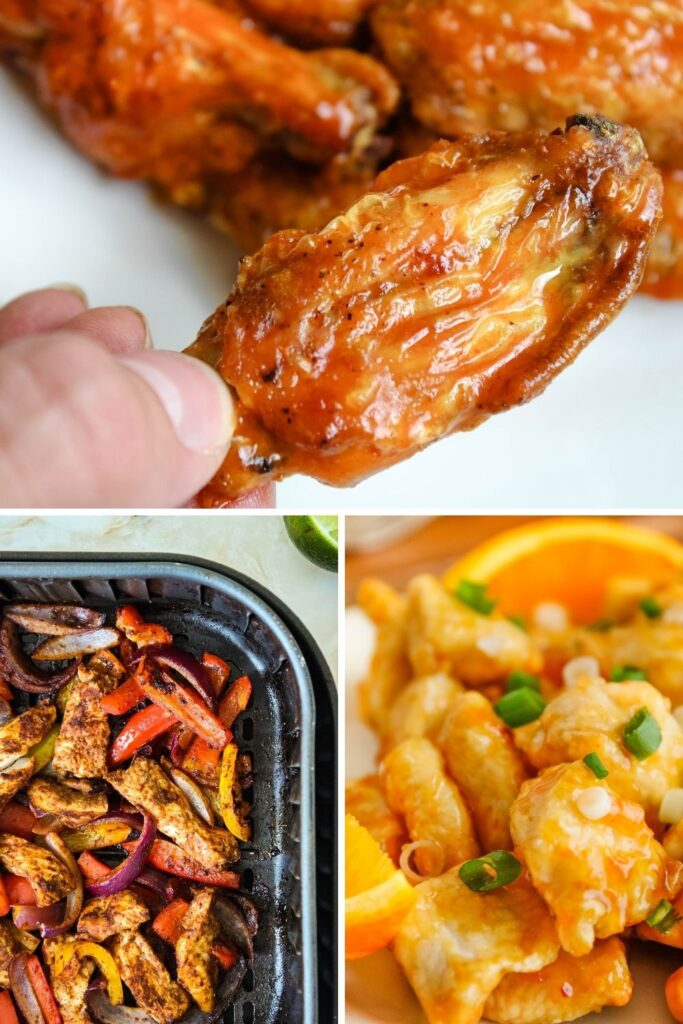 Collage of air fryer chicken recipes (buffalo chicken wings on top, chicken fajitas on bottom left, and orange chicken on bottom right)