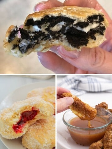 Collage of air fryer desserts (fried Oreos, jelly donuts, and apple slices covered in graham cracker crumbs)