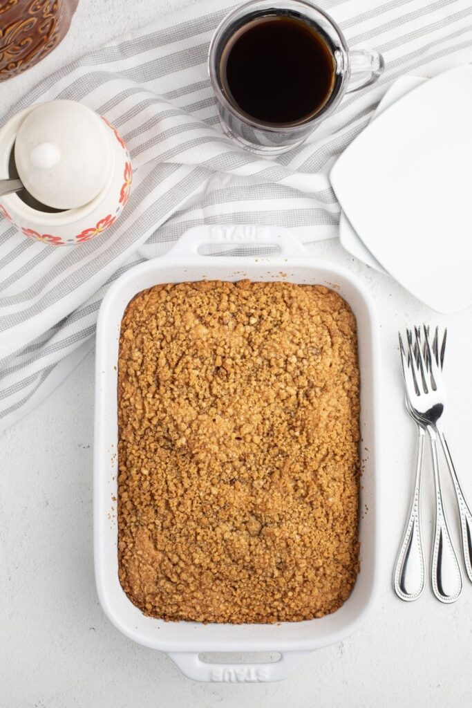 Finished Bisquick Coffee Cake with sour cream baked in 13x9 pan